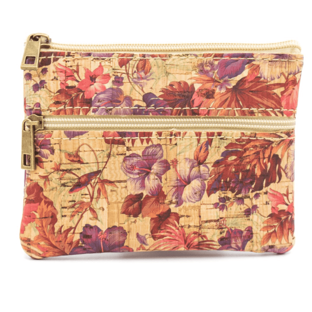 Bright Floral Cork Coin Zip Purse