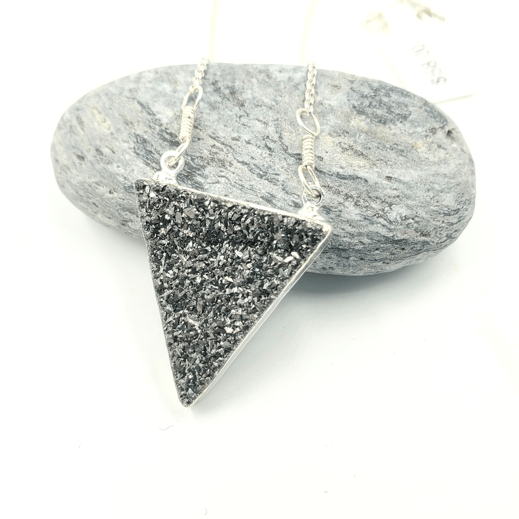 Black Druzy Triangle Silver Electroplated Necklace