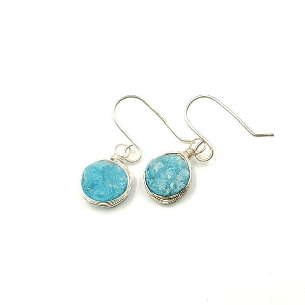 Baby Blue Druzy Silver Earrings