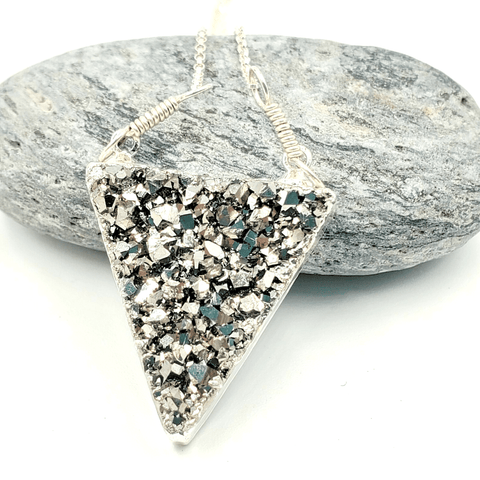 Silver Druzy Triangle Silver Electroplated Necklace