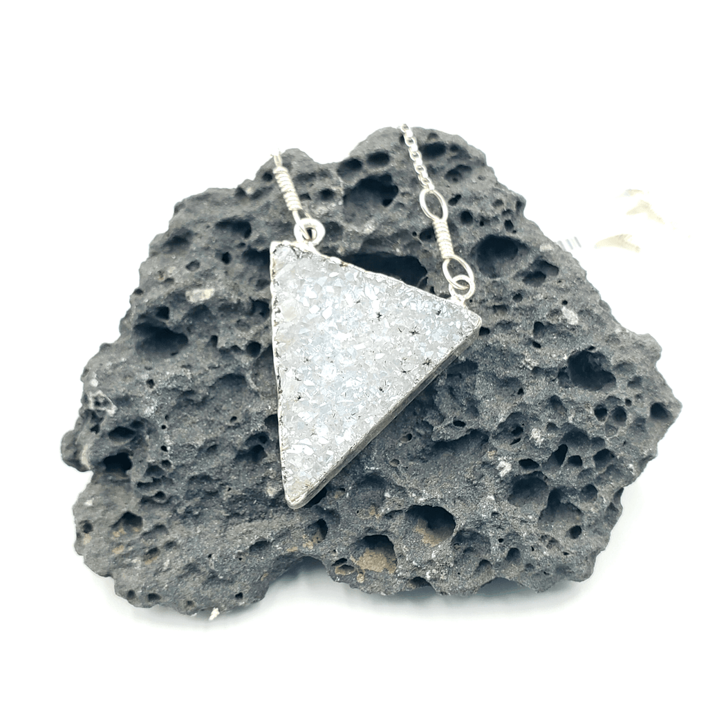 White Druzy Triangle Silver Electroplated Necklace
