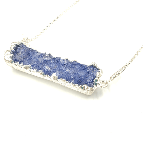 Blue Druzy Bar Silver Electroplated Necklace