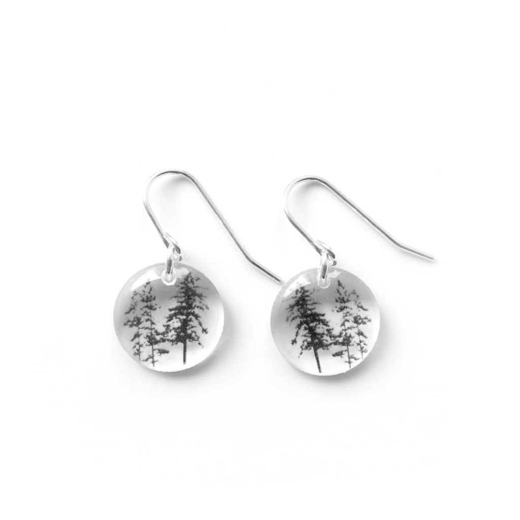 Round Tree Earrings, Sterling Silver