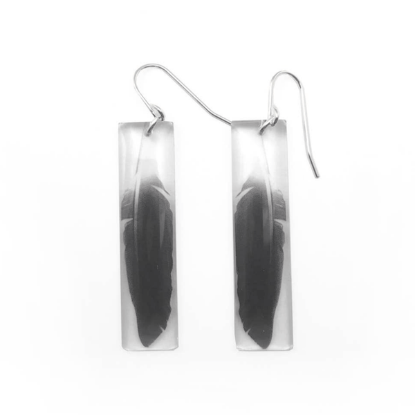 Tall Feather Earrings, Sterling Silver