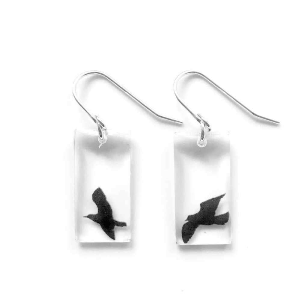 Black Bird Earrings, Sterling Silver