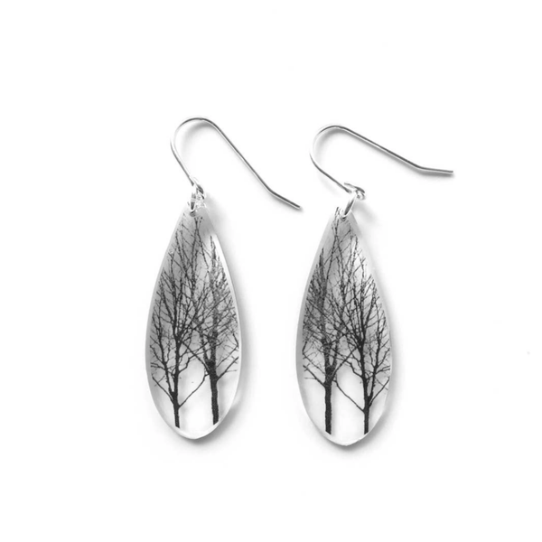 Tree Black & White Teardrop Earrings, Sterling Silver