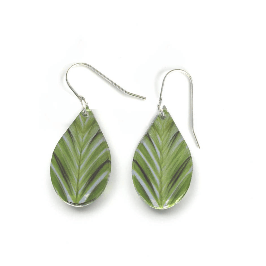 Green Leaf Teardrop Earrings, Sterling Silver