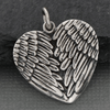 Angle Wing Heart Charm .925 Necklace