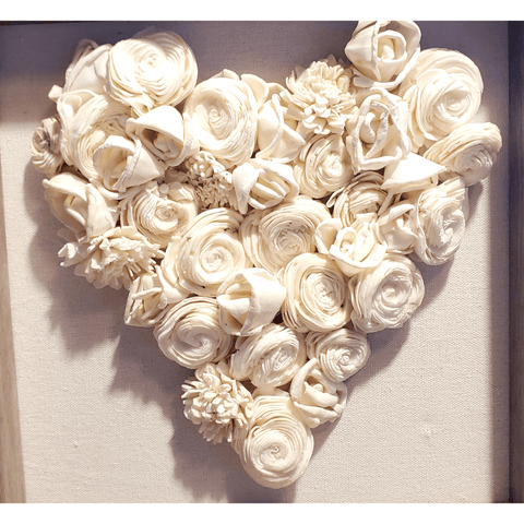 Wood Flower Heart, White, Shadow Box 9x9