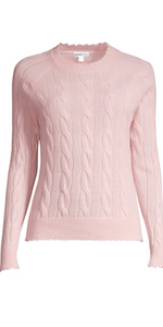 100% Cashmere Cable Frayed Crew - Pink Sand-Sea Biscuit Del Mar