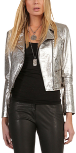 Amelia Metallic Biker Jacket - Silver-Sea Biscuit Del Mar
