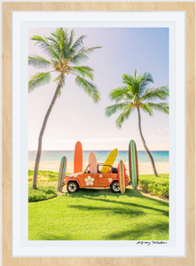 Beach Buggy Vertical, Mauna Kea Framed Art-Sea Biscuit Del Mar
