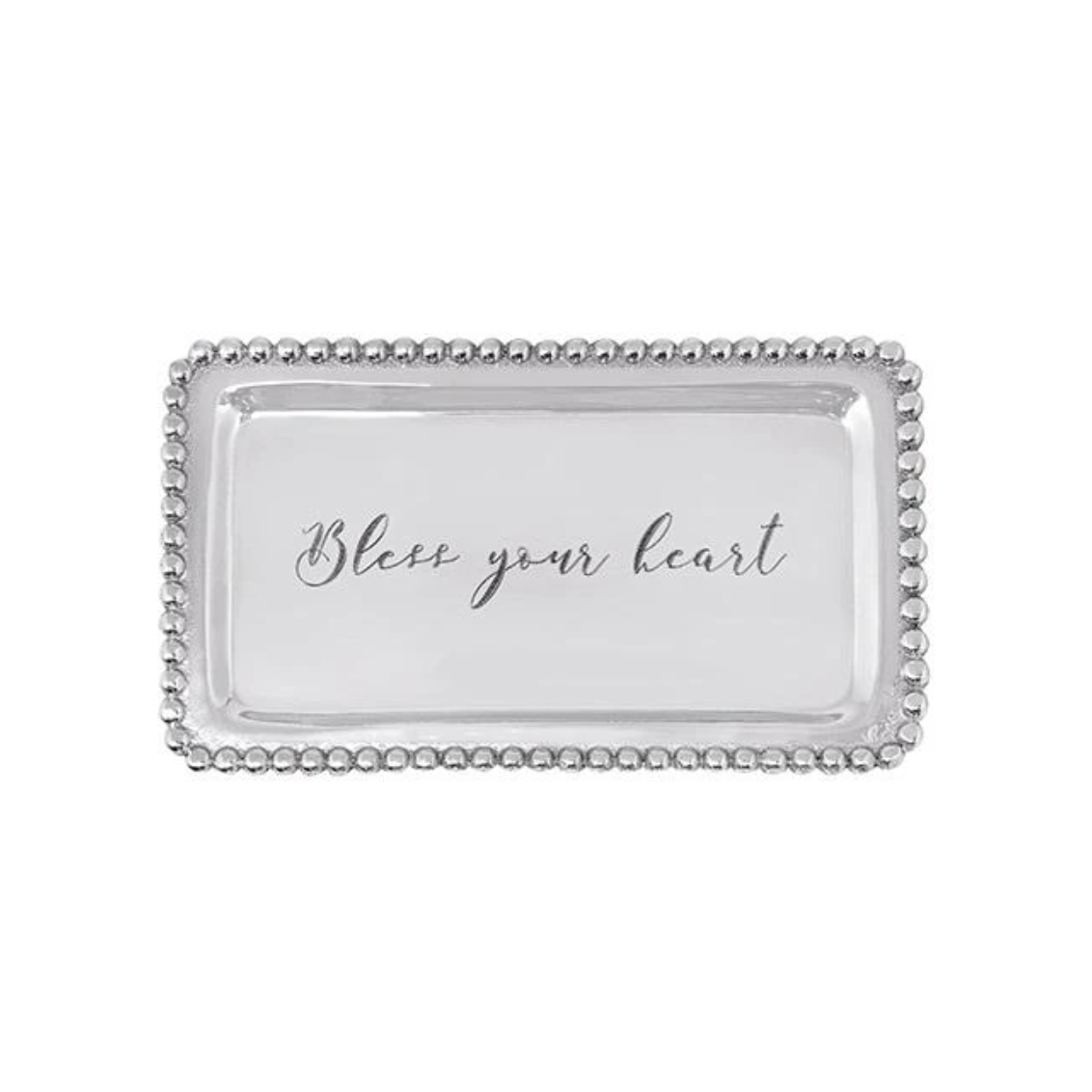 BLESS YOUR HEART Beaded Statement Tray-Sea Biscuit Del Mar