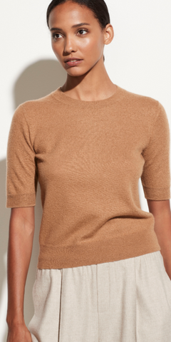 Boiled Cashmere Short Sleeve Pullover-Sea Biscuit Del Mar