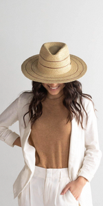 Camilla Fedora - Natural w/ Stripes-Sea Biscuit Del Mar