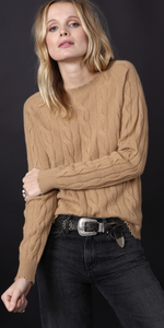 Cashmere Cable Frayed Crew - Caramel + Black-Sea Biscuit Del Mar