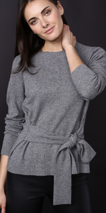 Cashmere Long Sleeve Crew with Waist Tie-Sea Biscuit Del Mar
