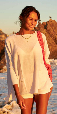 Catalina Sweater - White-Sea Biscuit Del Mar