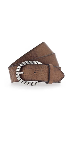 Cognac Embossed Leather Belt - B. Belts-Sea Biscuit Del Mar