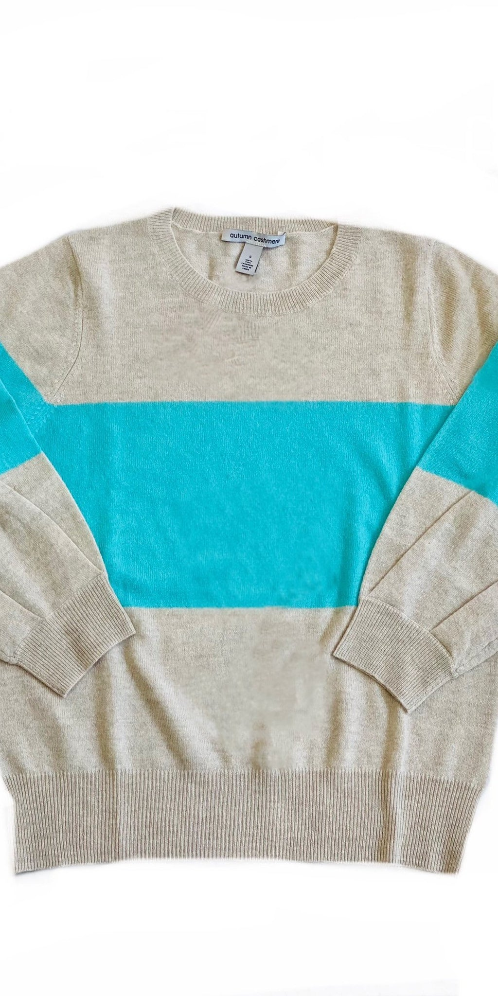Color Block Puff Sleeve Cashmere Crew-Sea Biscuit Del Mar