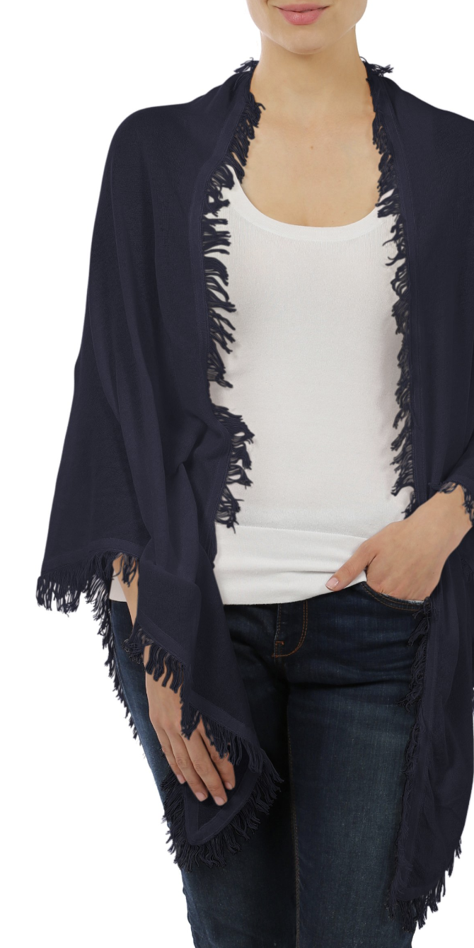 Cotton Frayed Fringe Shawl-Sea Biscuit Del Mar
