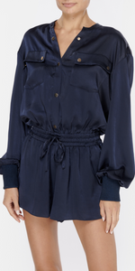 Dale Puff Sleeve Romper-Sea Biscuit Del Mar