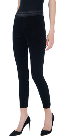 Dellah High Rise Velvet Legging - Black-Sea Biscuit Del Mar