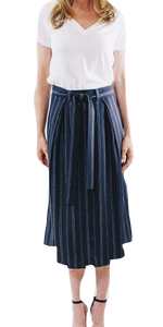 Dobby Stripe Belted Silk Skirt-Sea Biscuit Del Mar