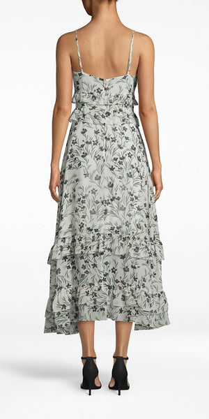 Flower Patch Silk Midi Dress-Sea Biscuit Del Mar