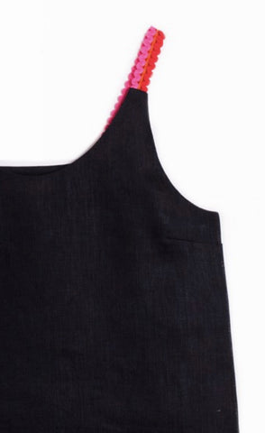 GINA Embellished Tank - Black Linen-Sea Biscuit Del Mar