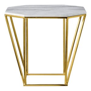 Gold with White Marble Top Pentagonal Table-Sea Biscuit Del Mar