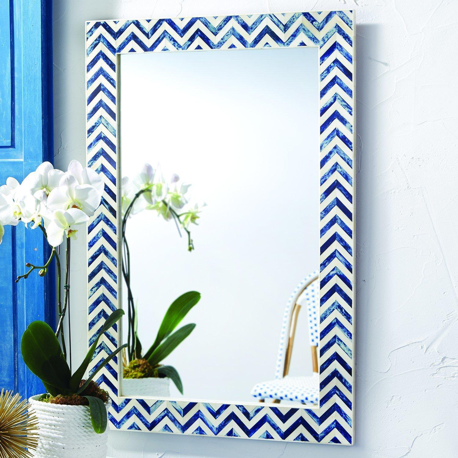 Indigo Chevron Wall Mirror-Sea Biscuit Del Mar
