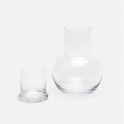 Lausanne Hand Blown Glass Carafe Set-Sea Biscuit Del Mar