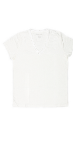 Linen Silk Trim Short Sleeve V-Neck T-Shirt-Sea Biscuit Del Mar