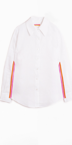 MAFALDA White Linen Top-Sea Biscuit Del Mar