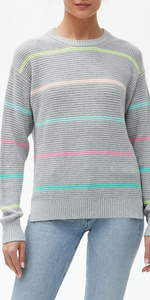 Maggie Crew Neck Sweater - Heather Grey Combo-Sea Biscuit Del Mar