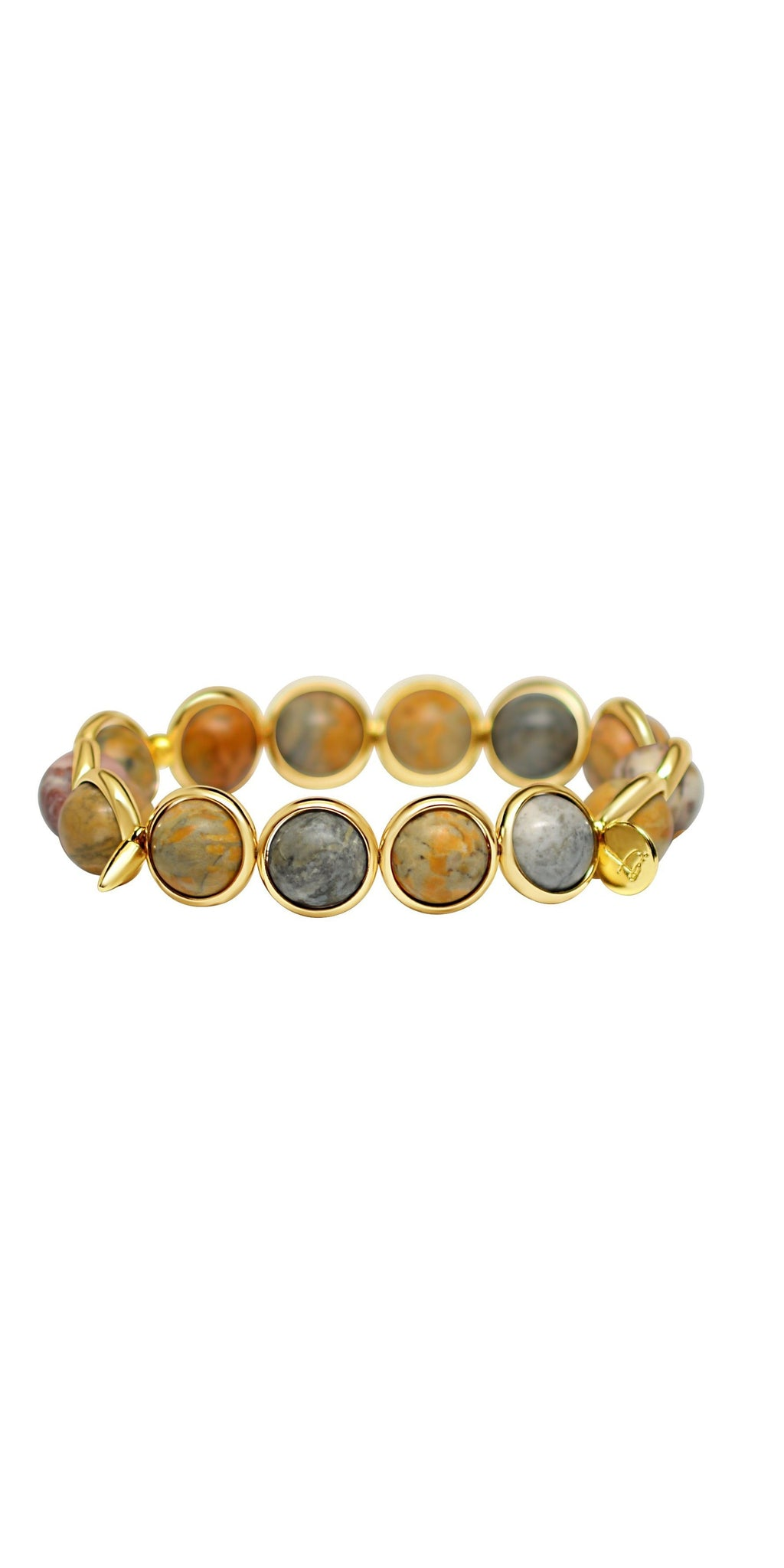 Matte Sky Eye Jasper Bead Bracelet - Gold-Sea Biscuit Del Mar