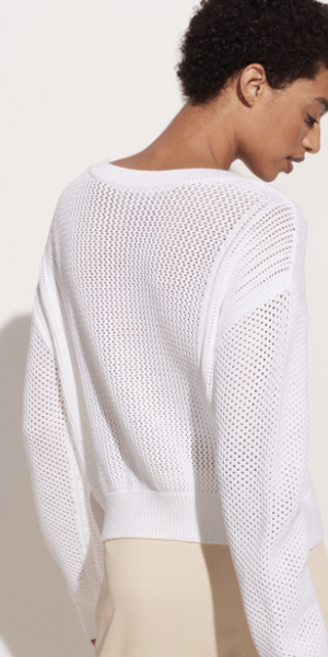 Mixed Mesh Stitch Pullover-Sea Biscuit Del Mar