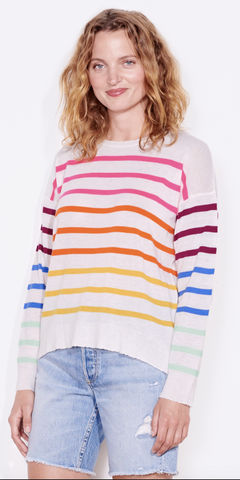Multi Color Stripes Crew Sweater-Sea Biscuit Del Mar