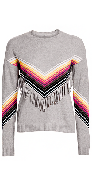 Multi-Stripe Fringe Crewneck-Sea Biscuit Del Mar