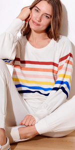 Multi Stripe Raglan Sweatshirt-Sea Biscuit Del Mar
