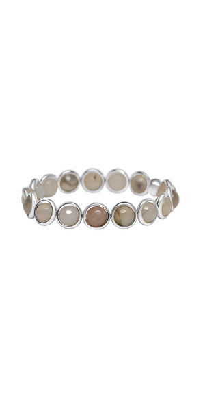 Natural Agate Bead Bracelet - Silver-Sea Biscuit Del Mar