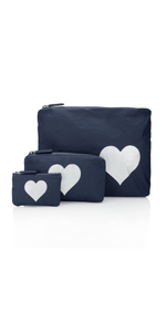 NAVY w/ SILVER HEART Pack - Set of Three-Sea Biscuit Del Mar