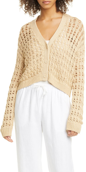 Open Cable Cotton Cardigan-Sea Biscuit Del Mar