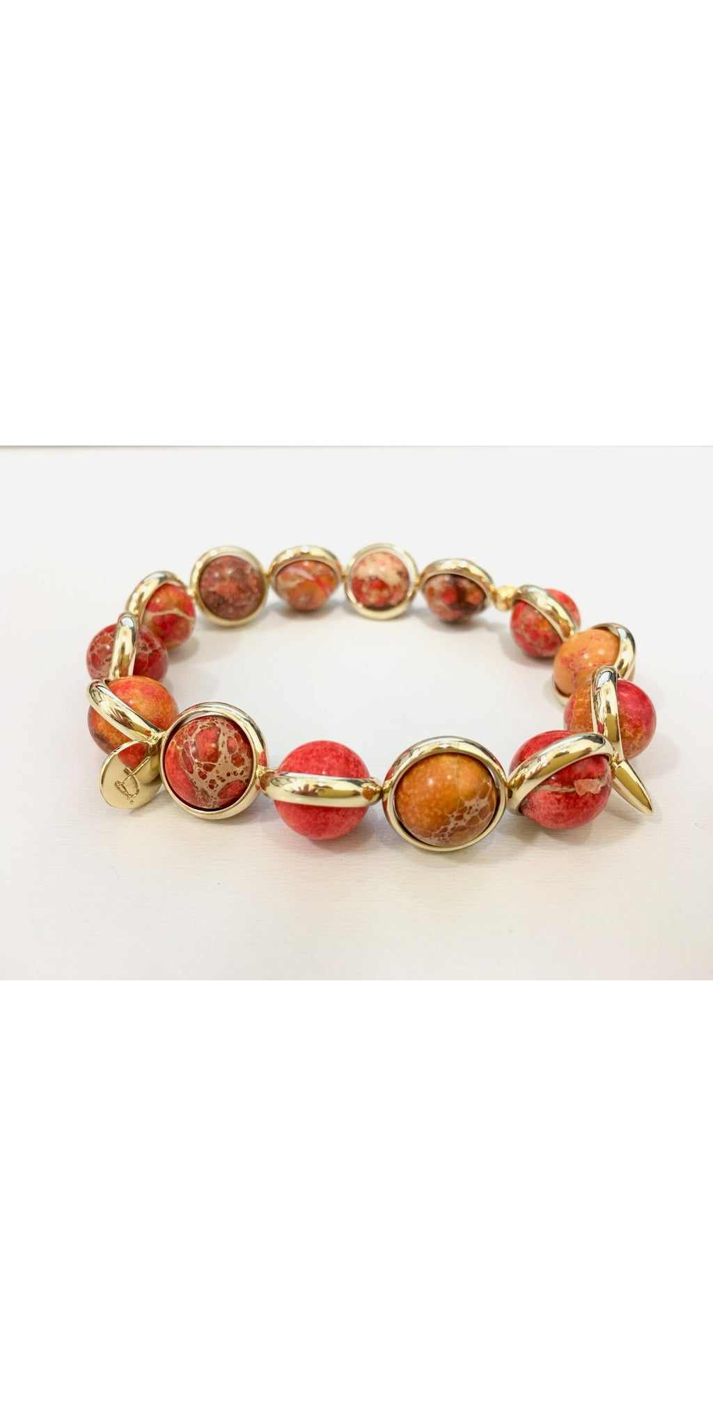 Orange African Opal Bead Bracelet - Gold-Sea Biscuit Del Mar