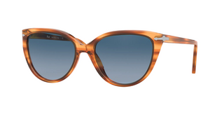 Persol Diva Sunglasses -Striped Brown w/ Gradient Azure Blue-Sea Biscuit Del Mar