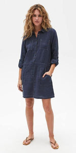 Pilar Linen Shirt Dress - Admiral-Sea Biscuit Del Mar