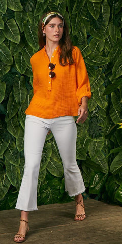 Poet Top - Gauze - Tangerine-Sea Biscuit Del Mar
