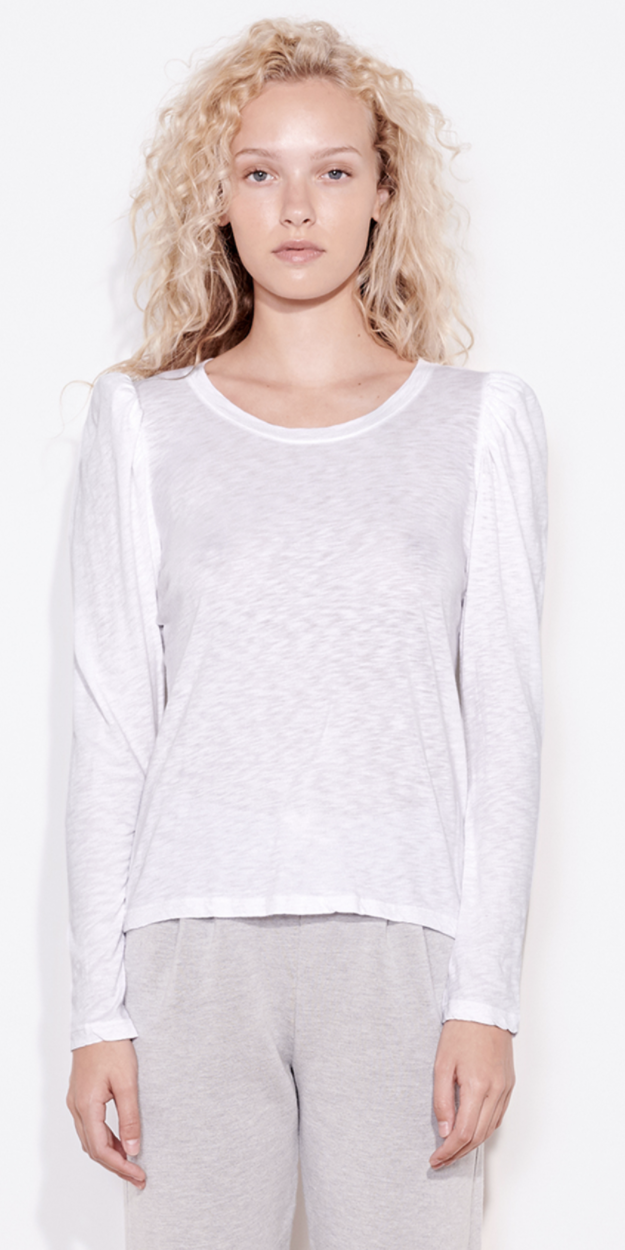 Puff Shoulder Long Sleeve Top - Brick-Sea Biscuit Del Mar