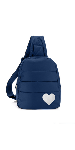 Puffer Crossbody Backpack - Navy with Silver Heart-Sea Biscuit Del Mar